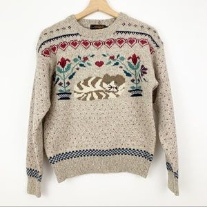 Eddie Bauer | Vintage Cat Sweater Hearts Floral